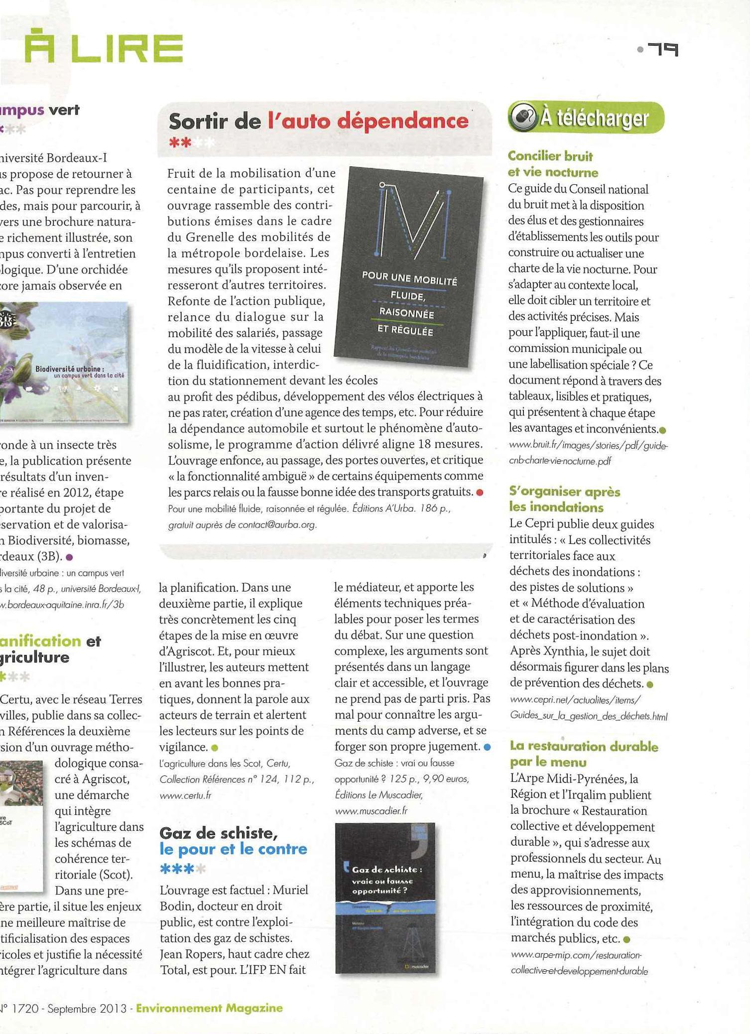 Article sur le gaz de schiste - Environnement magazine - septembre 2013