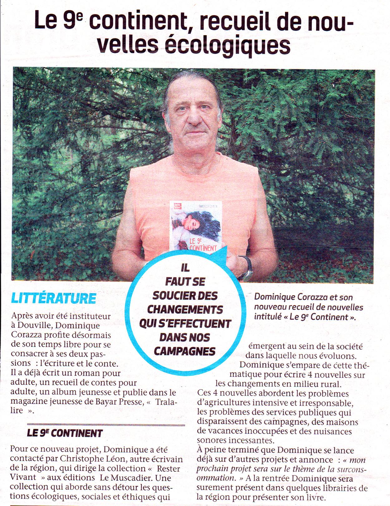 """Article du journal """"Le Démocrate"""" à propos du livre """"Le 9e continent"""""""
