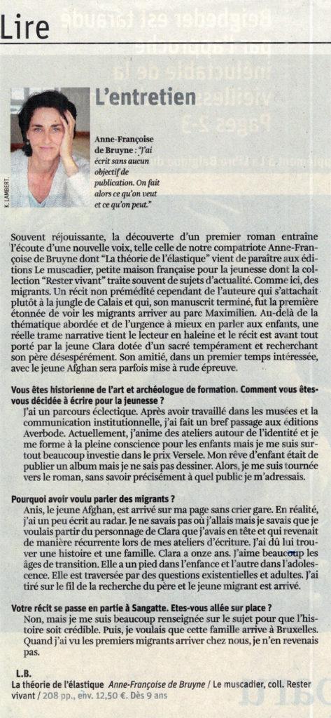 Interview d'Anne-Françoise de Bruyne dans La Libre Belgique - 8 janvier 2018
