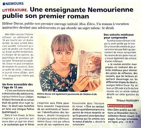 Article sur Mon Éden dans La République de Seine-et-Marne